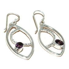 silver plated Handmade Dangle Earrings Faceted Brazilian Amethyst Oval Gemstone