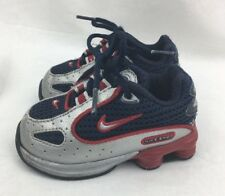 Nike Shox Toddler Size 4C Boys Sneakers Red Navy Blue Silver Mesh Leather  P232