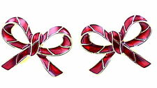 Red and gold coloured enamel bow clip on earrings