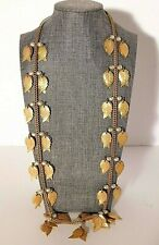 """Vtg. Miriam Haskell Brass Dangle Leaf Necklace with Glass Pearls 30"""" Signed Rare"""