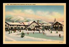Us Linen Postcard Ice Skating At Challenger Inn In Sun Valley Idaho