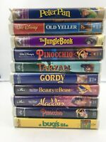 Lot of 10 Walt Disney Classic VHS Animated Movies w/ Clamshell Case