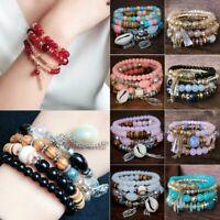 4Pcs/set Women Multilayer Natural Stone Crystal Bangle Beaded Bracelet Jewelry