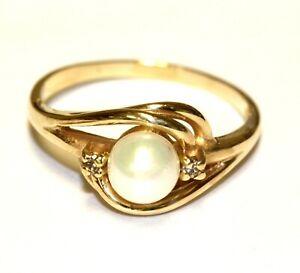 10k yellow gold .03ct SI2 H diamond pearl ring 2.4g estate vintage size 6