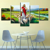 Jesus Christ Sheep Flock River 5 panel canvas Wall Art Home Decor Print Poster