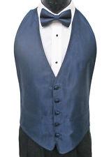 Men's Navy Blue Tuxedo Vest & Tie Open Back with Herringbone Pattern Wedding
