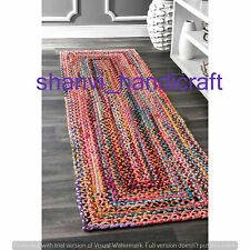 Multi Cotton 2x4 Feet Runner Rug Braided Jute Rug Handmade Bohemian Floor Runner