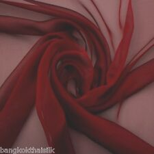 "BURGUNDY RED FAUX SILK CHIFFON 60""W FABRIC SOFT SMOOTH for SCARF WEDDING DECOR"
