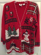Ugly Christmas Sweater  VINTAGE NUT CRACKER acrylic size Medium Cardigan