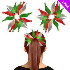 2 Pièces Vert Rouge Organza Élastique Serre-Cheveux Bandes Fête de Noël Bobble