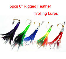 "5x 6"" Mixed Rigged Feather Trolling Skirt Fishing Lure Big Game Marlin Tuna Hook"