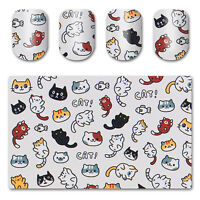 Nail Art Water Decal Manicure Transfer Sticker Tips Cute Cat and Fish Pattern