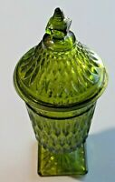 Vintage Indiana Glass Mount Vernon Pattern Pedestal Dish with Lid Green