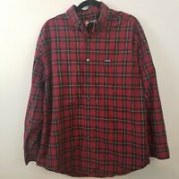 Mens Chaps Red Plaid Flannel 100% Cotton Long Sleeve Button Down Shirt Large