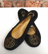 TORY BURCH Black Gold Logo Plated Metallic Ballet Flats Pumps Size UK 6 - C23