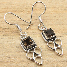 Quartz Dangle Earrings Fashion Jewelry 925 Silver Plated Genuine Facetted Smoky