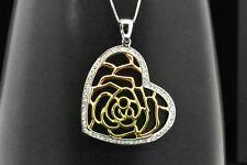 Plata de Ley 925 Diamante Sintético Rosa Amarillo Colgante Corazón Collar