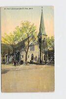 PPC POSTCARD MI MICHIGAN FLINT ST PAUL'S EPISCOPAL CHURCH EXTERIOR STREET VIEW