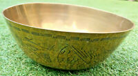 Antique Brass Oriental Chinese censor ding bowl with etched detailing -Dragons?