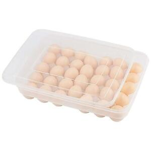 34 Egg Holder Boxes Tray Storage Box Eggs Refrigerator Container Plastic Case