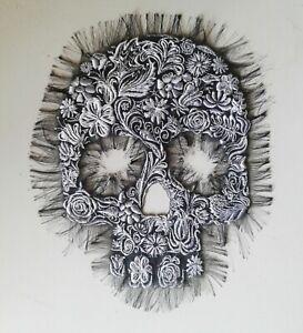 Calavera Sugar Skull Handmade Embroidered Patch