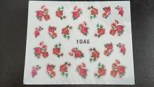 Nail Art Water Transfer Decal Stickers Red Flowers 1046