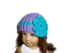 """Crochet Hat Fits American Girl Dolls 18"""" Doll Clothes Purple / Turquoise Flower"""