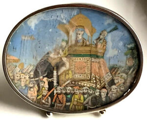 Early 19c Indian Antique Miniature Painting In Silver Frame