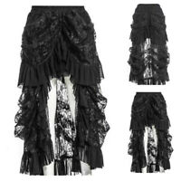 Women's Vintage Gothic Long Skirt Victorian Ruffles Irregular Steampunk Dress
