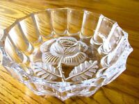 Vintage Round Crystal Bowl with Lovely Rose ~ HOFBAUER BLEIKRISTALL West Germany