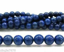 8mm Blue Egyptian Dark Blue Lazuli Lapis Round Gemstone Loose Beads 15""