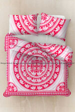 Elephant Mandala Bohemian Duvet Cover Quilt Cover Indian Cotton Pink Bedding Set