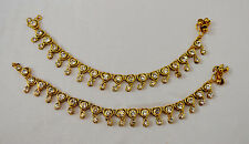 Heart Design Ethnic Bridal CZ Anklets Gold Plated Payal Bollywood Jewellery SSA1