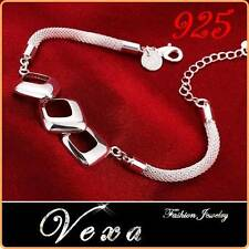 New 925 Sterling Silver Charm Bracelet Bangle Ladies Womens Fashion Jewelry BS12