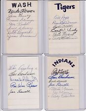 signed index card Indians Rocky Colavito, Mike Garcia, Al Rosen, 4 others w/COA