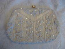 Hong Kong Bag Hand Made Beaded Evening Clutch Strap Purse White Beige, 7.5� x 5�