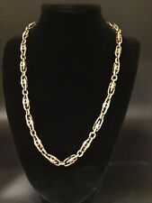 Victorian 14k Yellow gold decorative fancy link Albert Chain necklace 20""