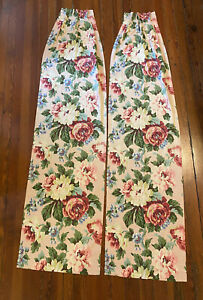 """2 Waverly Stafford Pink Floral Pinch Pleat Drapery Curtain Panels 20"""" x 80"""""""