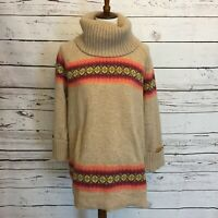 GAP Tunic Sweater Medium Striped Knit Wool Blend Cowl Neck Pockets Beige J7