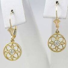 14k Yellow Gold Diamond Lever Back Drop Earrings, Flower Design(new, 1.97g) 1964