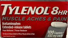 TYLENOL 8HR MUSCLE ACHES & PAIN Acetaminophen 650mg 100 Caplets EXP 02/20