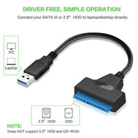 """USB 3.0 To SATA 22 Pin Adapter Cable For 2.5"""" External HDD SSD Hard Drive Disk"""