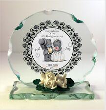DIAMOND  Wedding Anniversary gift personalised Cut glass round plaque 60th   |4