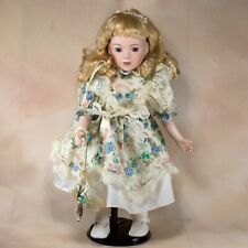 "Collector's Porcelain Girl Doll 15"" Blond Hair With Curls Blue Eyes"