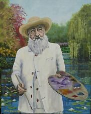 """NEW DON CAMERON ORIGINAL Claude """"Monet in his Garden at Giverny"""" Lilies PAINTING"""
