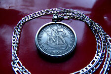 """Portuguese 5 Escudo Sailing Ship Coin Pendant on a 28"""" 925 Sterling Silver Chain"""