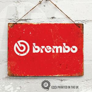 BREMBO Metal Wall Sign Pub Bar Home Mancave Garage Bike Disk Caliper Cover logo