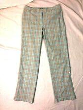 David Brooks Size 6 Women's Pants Blue Plaid Straight Leg Pockets