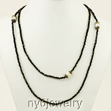 """Gorgeous Black Crystal Stretch Cord Long Evening Necklace with 3 Pearl Beads 44"""""""