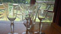 Etched Wine Glasses Goblets solid Floral design Bulbous stem 4 8oz
